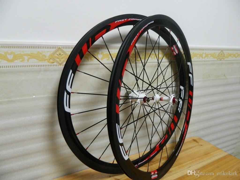 FFWD red 38mm Clincher full carbon Fiber bicycle wheels Road Racing carbon wheels 2017