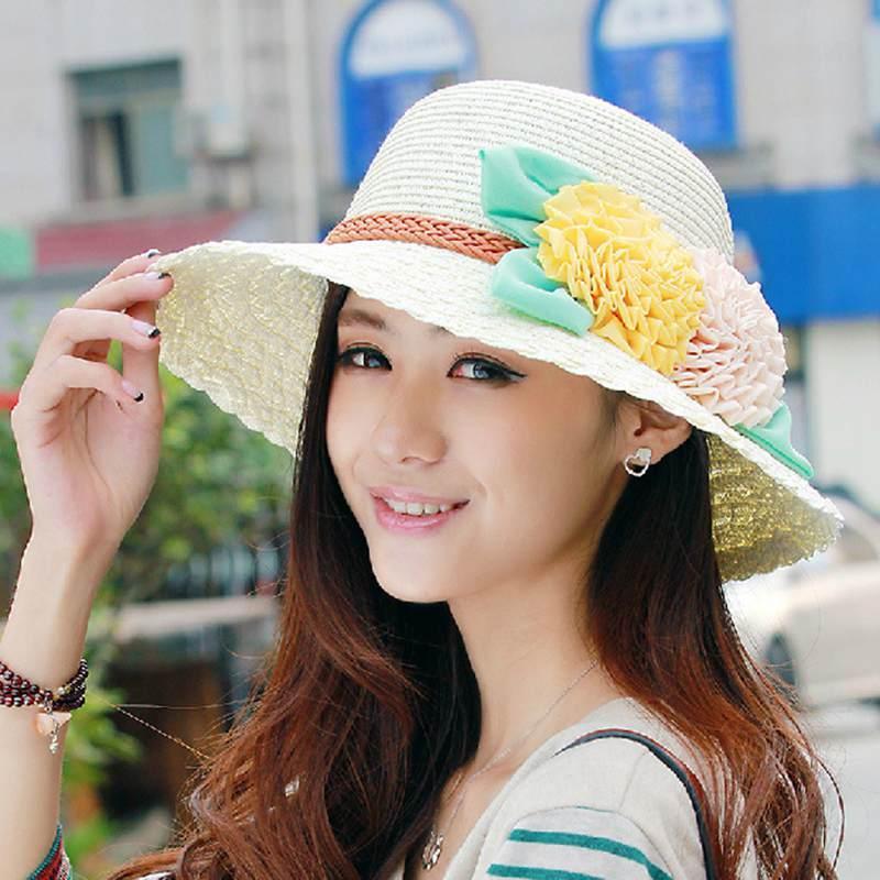Wholesale 2017Vintage Hat Girls Fashon Women S Foldable Wide Large Brim  Ladies Cap Floral Sun Caps Floppy Straw Hat Summer Women LF 10410 Scala  Hats ... 1673d571137