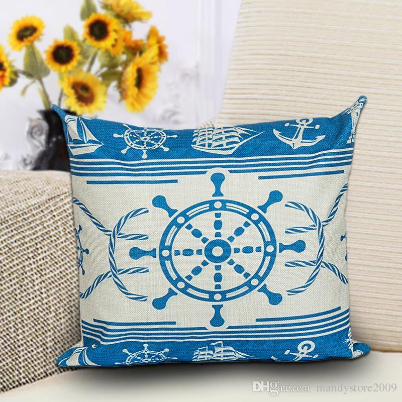 Ocean Styles Home Sofa Cushion Cover Printing Sailing Boat Anchor Sailor Pattern Cotton Pillow Cover 45 * 45CM Pillow Cover Cushion Cover