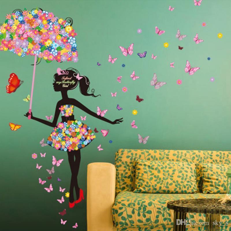 Flower Girl Umbrella Wall Stickers Art Decal Wallstickers Home Decor ...