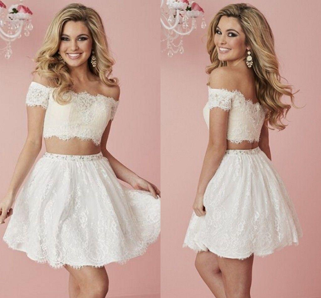 Compre Blanco Vestido De Partido De Cóctel Corto Del Cordón De Dos ...