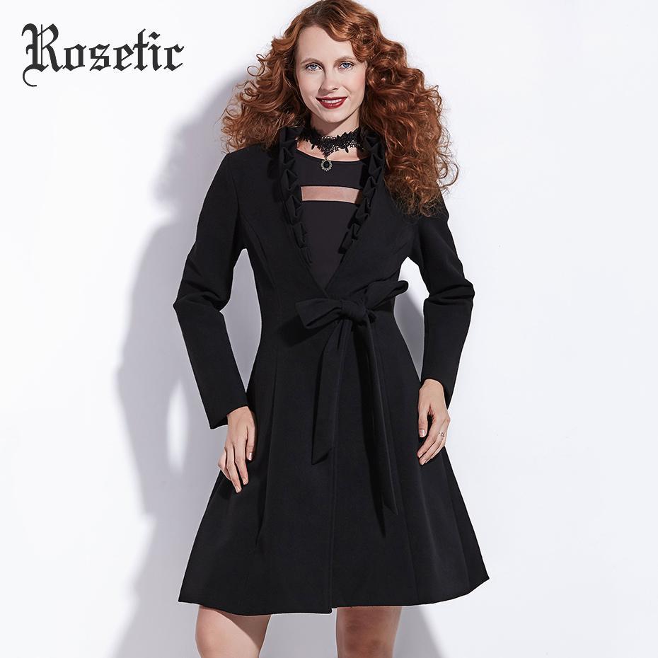 Rosetic Femmes Hemline Trench Gothique Automne Acheter Noir Manteau vqFn7wfPf