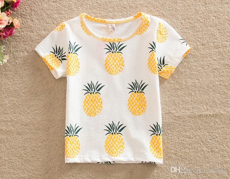 2016 neue sommer kinder volle zitrone t-shirt kurze hülse ananas gedruckt jungen mädchen baumwolle frucht t-shirt kinder baby kleidung größe 80-120 cm