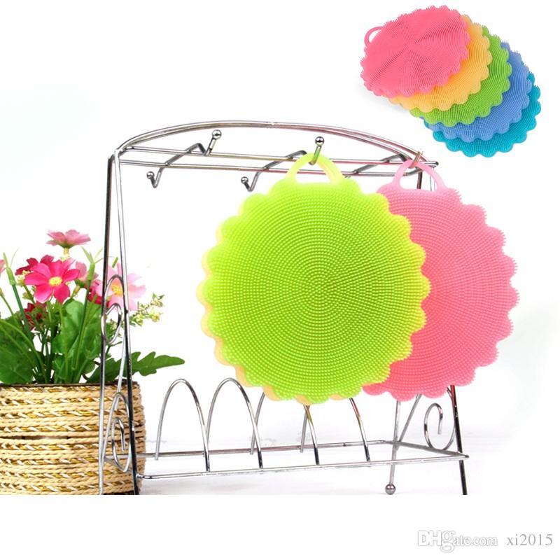 Multifunktions-Blume geformte Silikon-Schwamm Geschirrspülen Reinigungsbürste Küche wesentliche Wäscher Obst Gemüse saubere Bürste