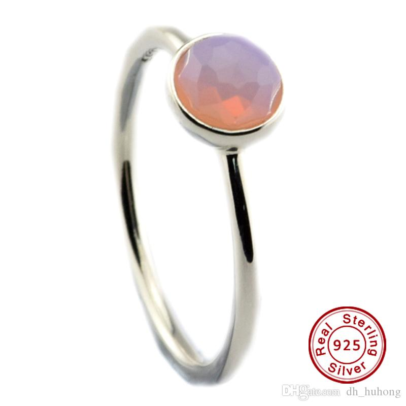 df253a139d4ad October Droplet, Opalescent Pink Crystal 100% 925 Sterling Silver Bead Fit  Pandora Ring Fashion Jewelry DIY Charm Brand