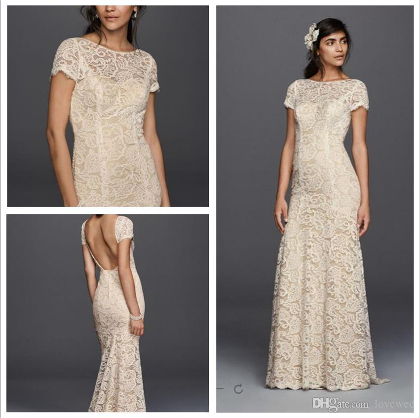 2016 Short Sleeve Sheath Wedding Dresses The Whole Body Lace With Illusion Jewel Neckline And Back Zipper Kp3780 Gowns Long Sleeved Modern