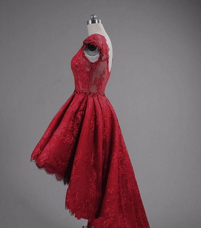 높은 낮은 Appliqued 레이스 댄스 파티 드레스 광장 네크 라인 캡 슬리브 이브닝 가운 맞춤 제작 댄스 파티 드레스