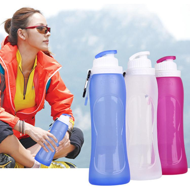 Folding Drink Water 500ml Eco-Friendly Silicone Travel Sport Flexible Collapsible Water Bottles Foldable Drinkware Outdoor Hydration Gear