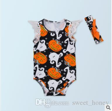 2018 halloween costume halloween rompers sets lace sleeveless orange pumpkin halloween costumes newborn onesies headband sets baby romper outfit from