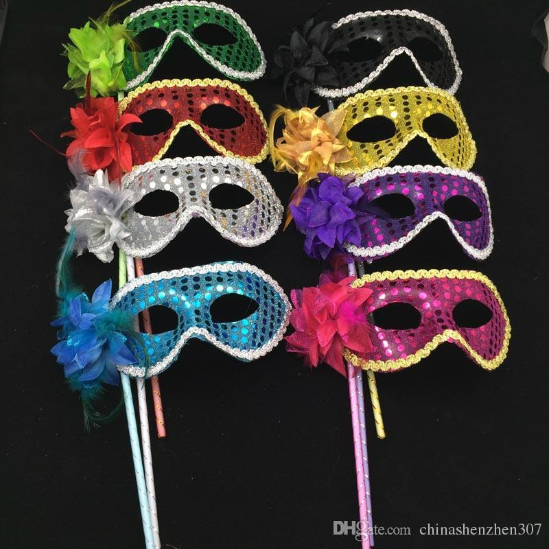 Luxury on stick colorful sequined coated flower side Venetian masquerade mask Half Face Man Mask Sexy Woman Halloween Mask