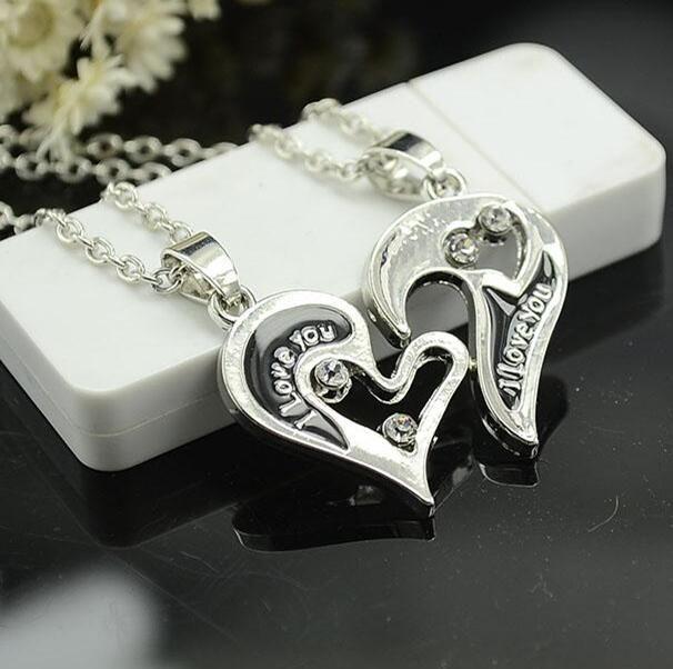 Collana cuore parte Collana puzzle argento Cuore lettera d'amore placcato argento ciondolo pendente regalo amico regalo di Natale