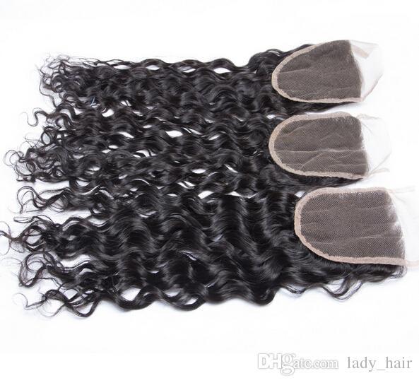 Virgin Braziliaanse Nat Golvend Haar WEKS met Sluiting Braziliaans Virgin Haar Weave Bundels met Water Wave 4x4 Kant Bovenste sluiting