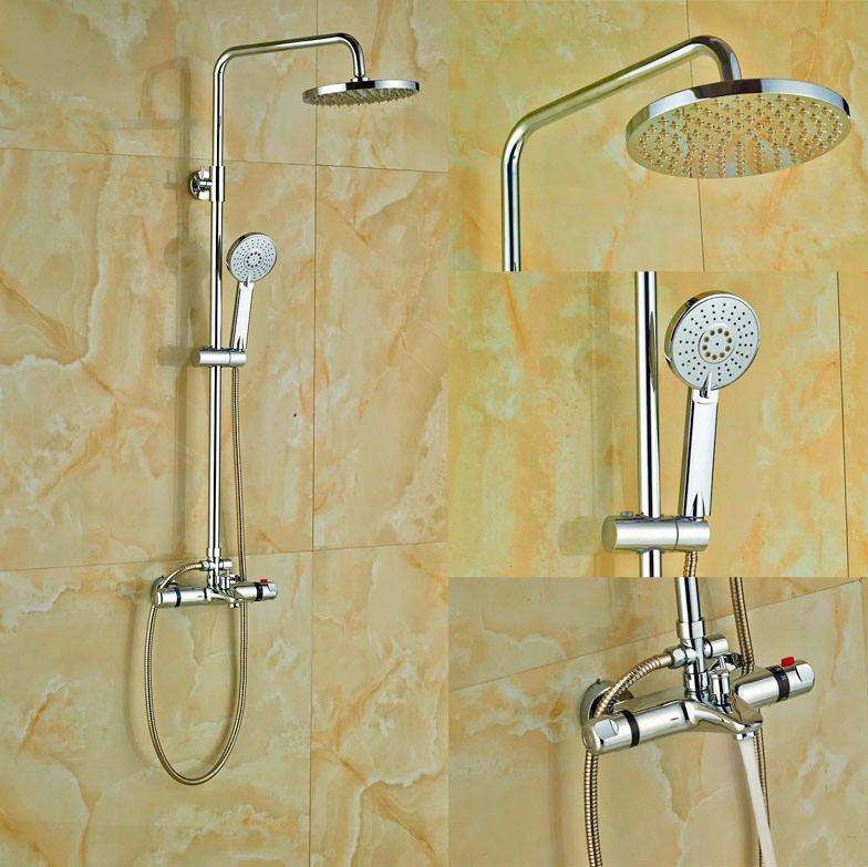 2018 Chrome Rainfall Shower Thermostatic Shower Faucet Set Mixer Tap ...