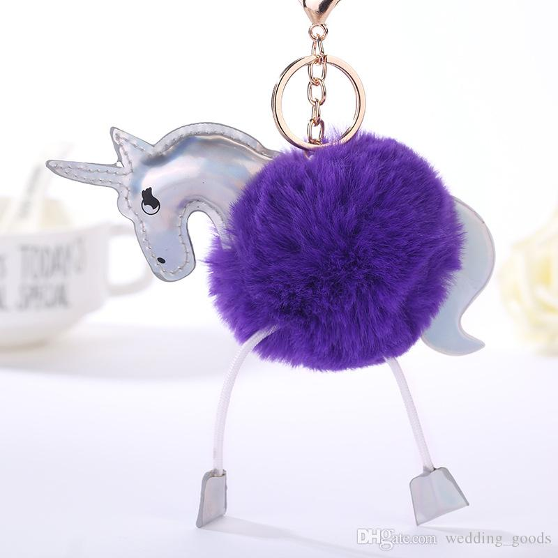 Good A++ Unicorn hair ball key ring PU leather key card cartoon hair ball bag pendant KR355 Keychains a