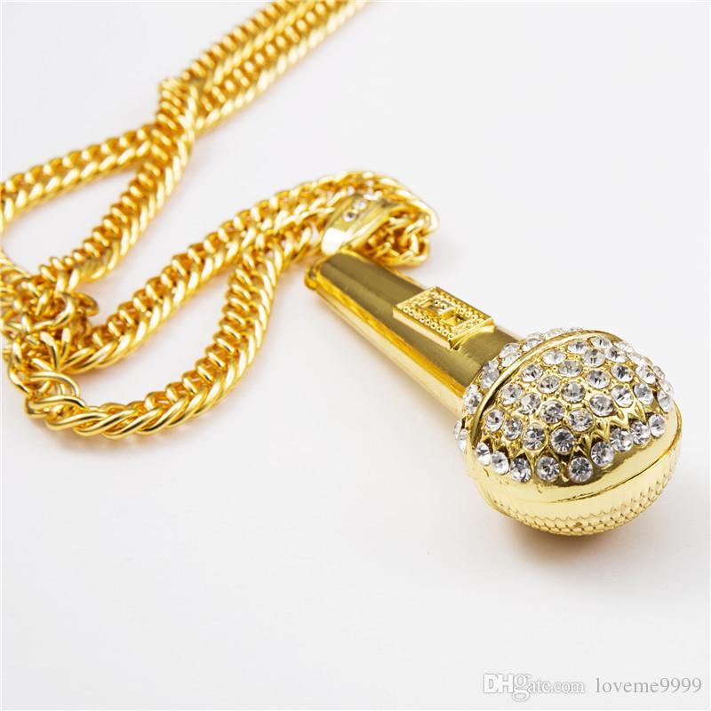 High quality women Mens Hip hop 24k gold plated Rapper Crystal Microphone mic DJ Pendants Rock Snake Chain Necklaces jewelry
