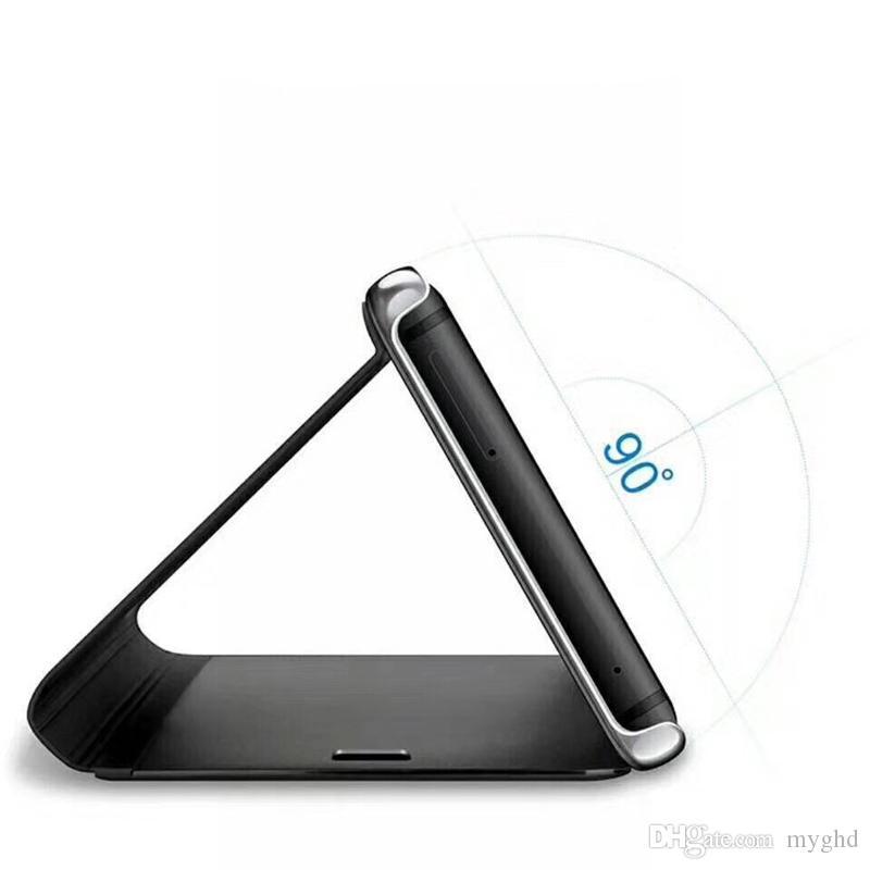 2017 Nouveau Titulaire Téléphone Cas Electroplate Effacer Smart Kickstand Miroir Voir Flip Couverture Sommeil sommeil Pour iphone 6 7 8 X samsung galaxy