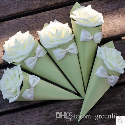 Wedding Candies Boxes Rose Paper Flowers Cone Shape Bowknot Diamond