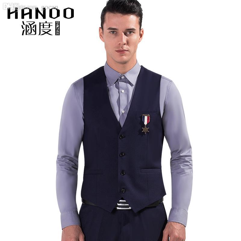 d70a6ada291a Chaleco de vestir al por mayor-azul del color de los hombres Chalecos de  vestir chaleco de ocio de los hombres ocasionales chaquetas de negocios ...