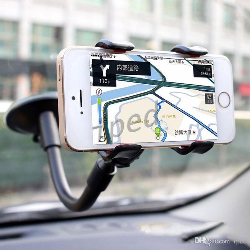 Soporte para coche Soporte para coche, Brazo largo, Parabrisas, Universal, Soporte para coche, con ventosa fuerte y abrazadera X Clip doble V para iPhone 7 / 7s