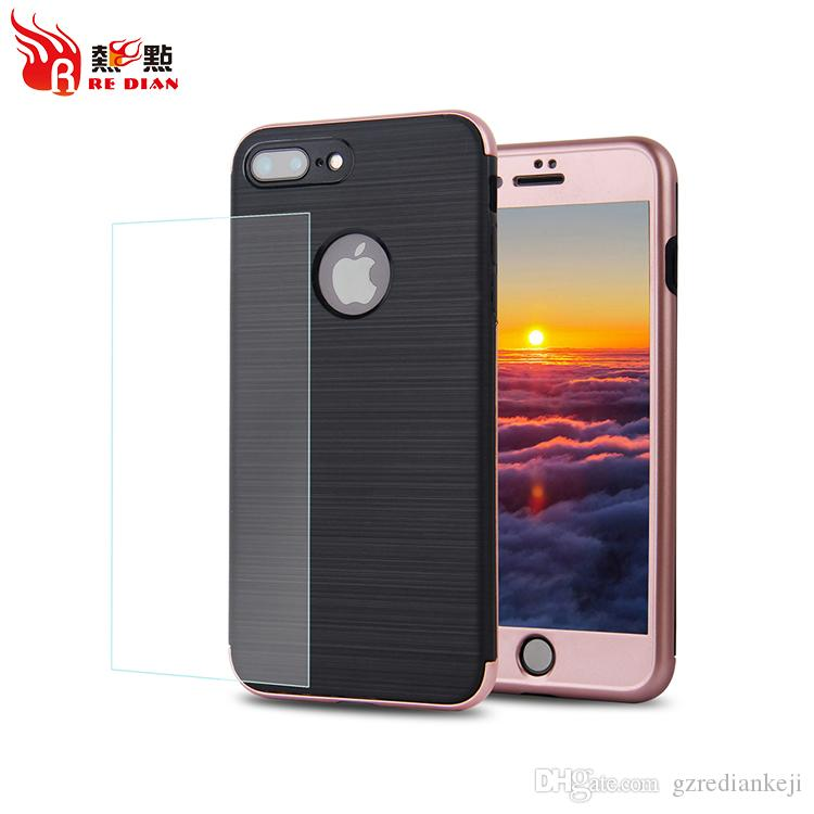 For IPhone 7 7P 360 Degree Full Cover Ultra Slim Body Cell Phone Case Front PC Bumper With Wire Drawing TPU Backcover
