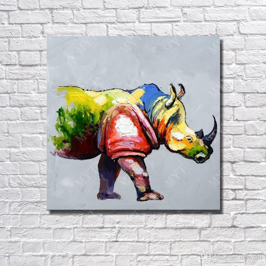 Compre Cuadro De Rinoceronte Sin Marco De Madera Pintado A Mano ...