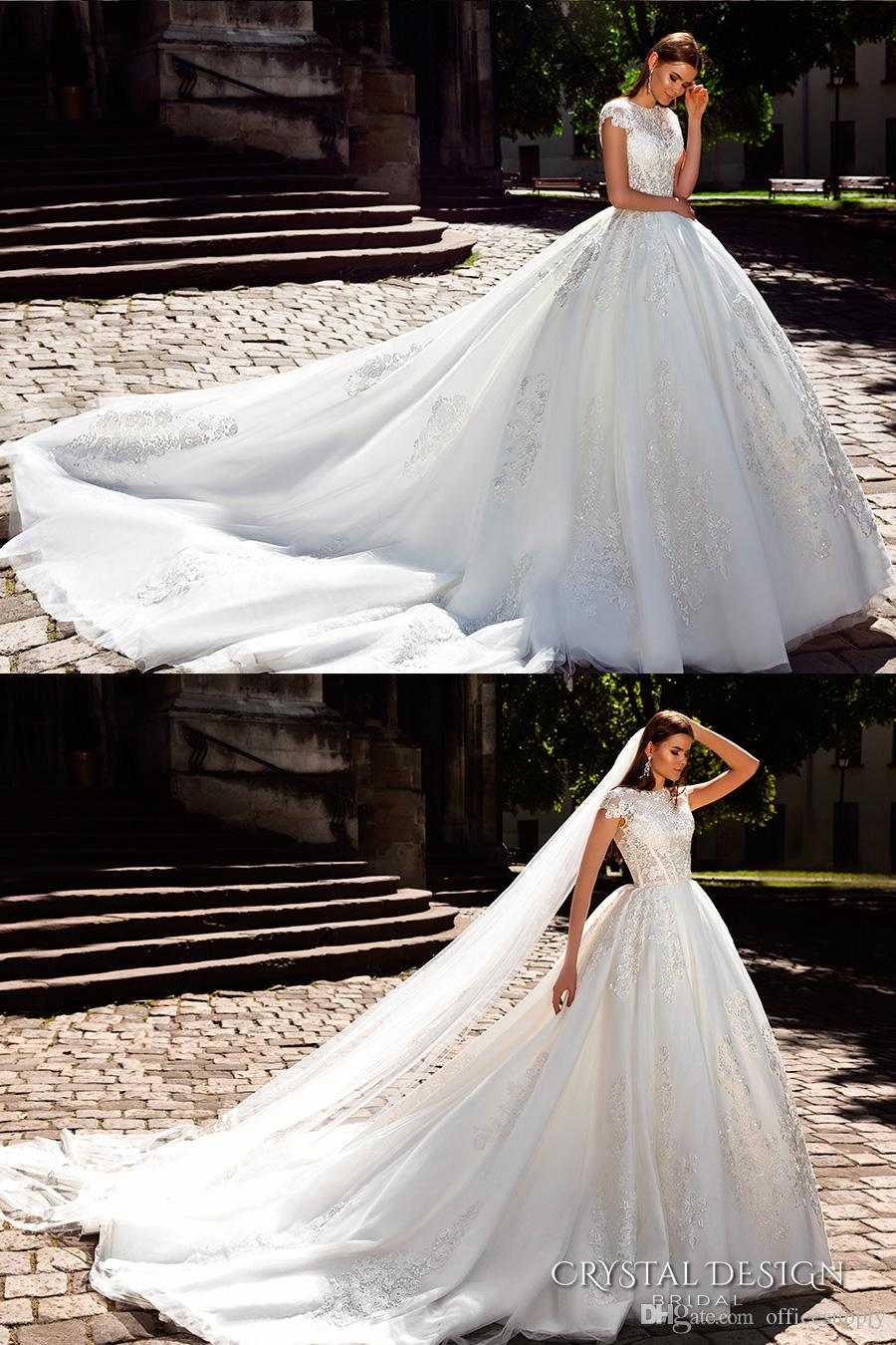 Vestidos De Noiva 2018 Luxury Wedding Dresses with Capped Sleeves Beaded Lace Appliqued Cathedral Train Bridal Gowns Custom Made