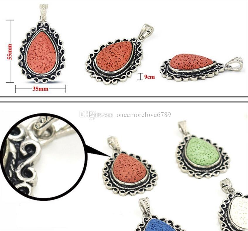 Fashion Water Drop Natural Lava Stone Pendant Perfume Essential Oil Diffuser Charms Ethnic Accessories DIY Necklace Jewelry Women
