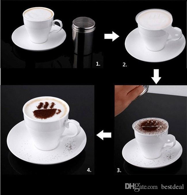 Coffee Machine Coffee Tool Mold Coffee Art Barista Stencils Template Strew Pad Duster Spray Print Mold Coffee Health Tools