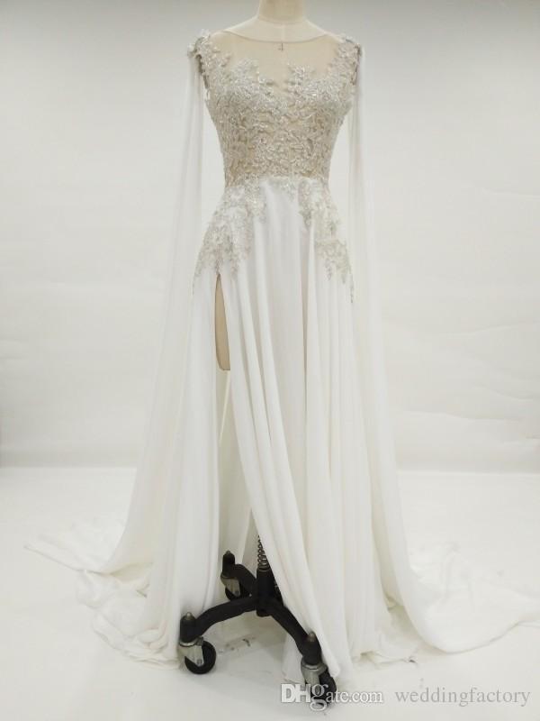 Real Ivory Champagne Sheer Wedding Dress Illusion Top Ärmlös Silver Lace Appliques Korsett Back Chiffon Brudklänningar med Split and Train