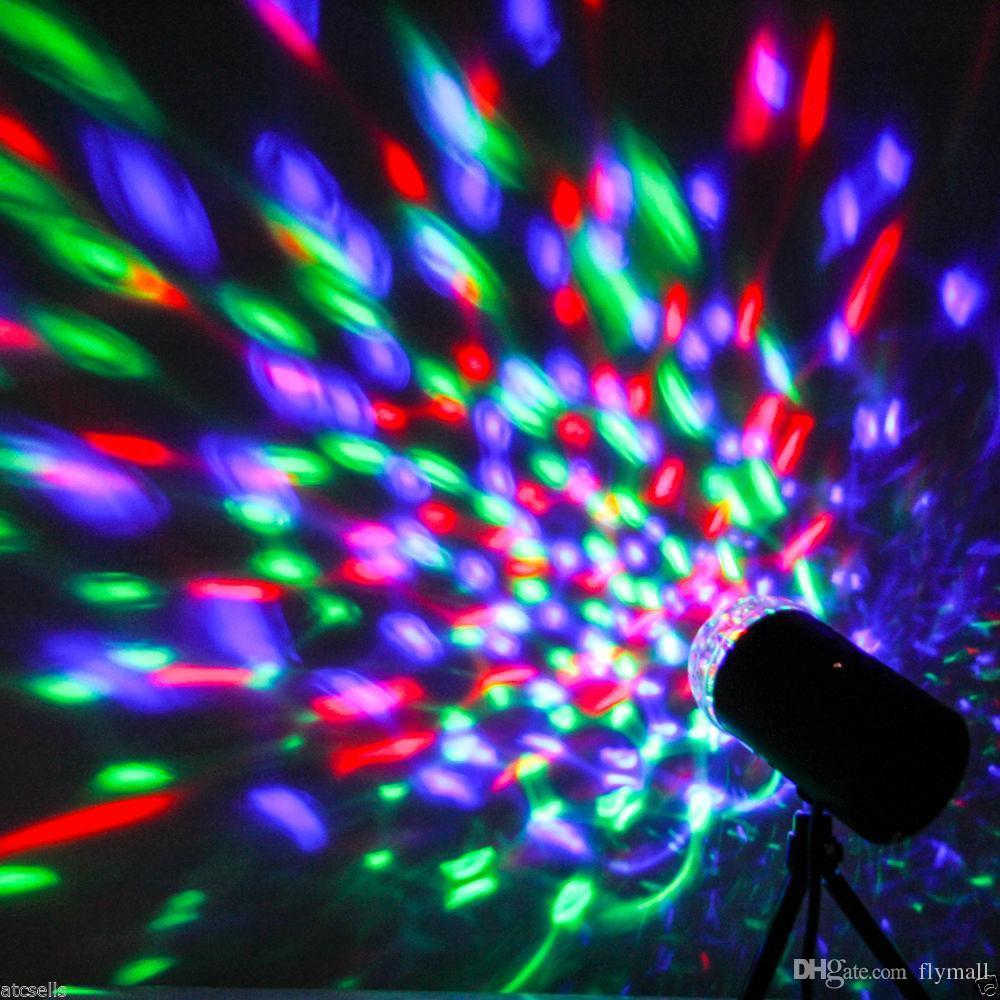 3W 풀 컬러 LED 음성 활성화 된 회전 램프 RGB 크리스탈 매직 볼 레이저 무대 조명 DJ KTV LED 효과 디스코 램프 전구 자동 회전