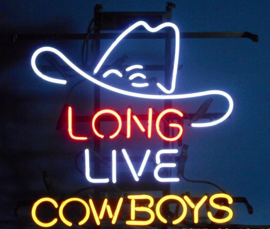 "New Long Live Cowboy Neon Sign Custom Real Glass Tube Bar Pub Game Room Decoration Display Commercial Handicrafted Bright Neon Signs 19""X15"""