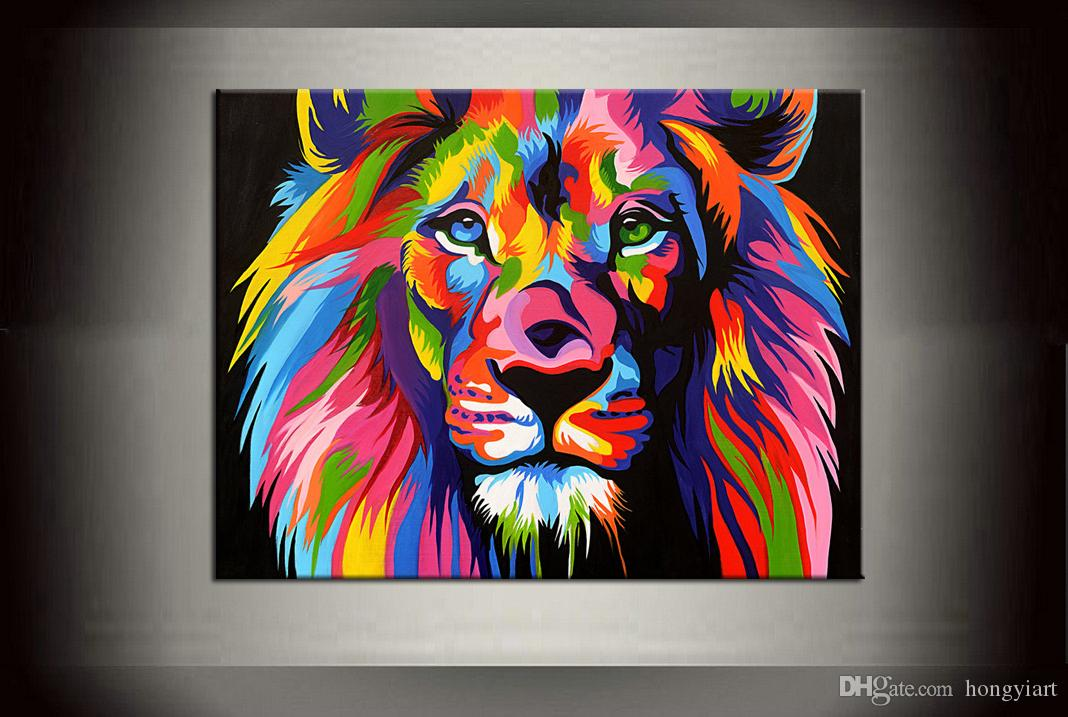 2018 dazzle colour lion painting pictures abstract art quality