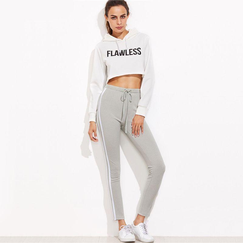 e0e8426006 2019 SHEIN High Waist Pants Trousers Women Drawstring Waist Skinny Pants  Striped Sideseam Sweatpants From Lmzhs0414, $42.72 | DHgate.Com