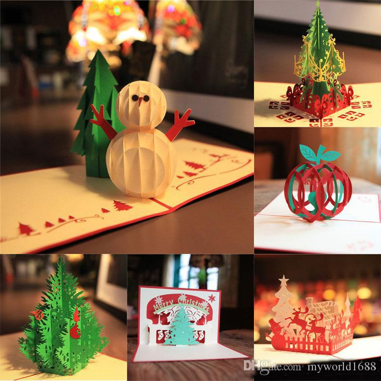 New handmade merry christmas greetings cards kirigami 3d pop up new handmade merry christmas greetings cards kirigami 3d pop up christmas tree snowmen card wholesale hot greeting cards for free greeting cards free online m4hsunfo
