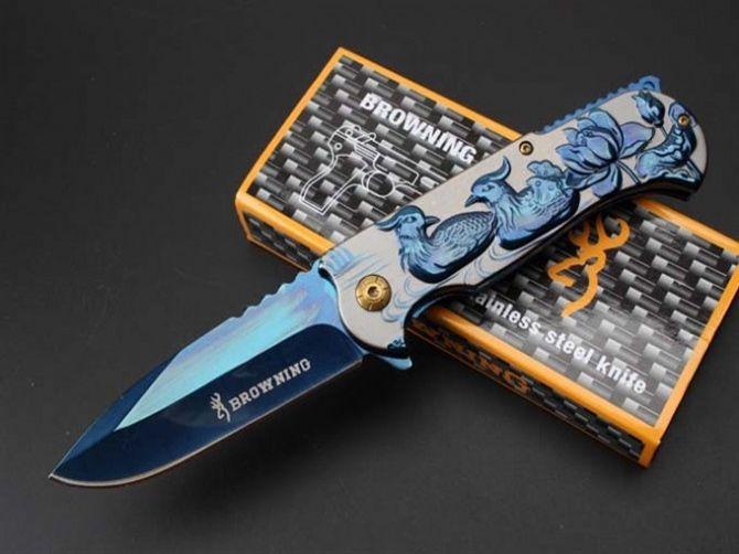 Faca de caça Browning Faca Dobrável 7Cr13 Lâmina Fina Assistida Rápido-Aberto Bonito Azul Resgate EDC Bolso Faca Tática Com Clipe F661E