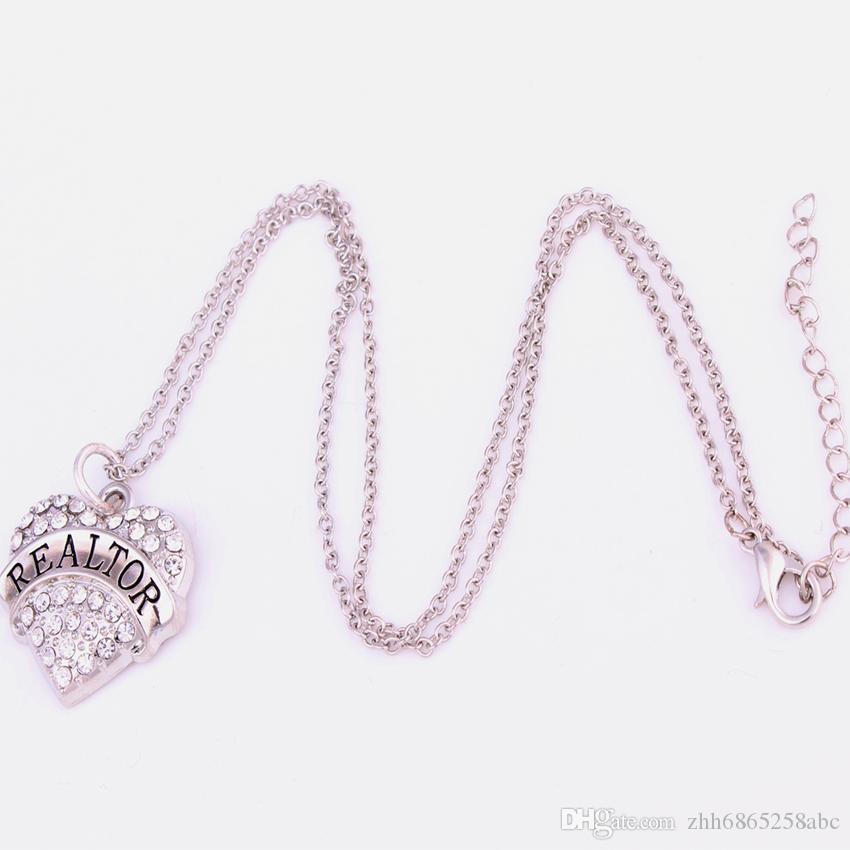 Nova Chegada Venda Quente ródio chapeado de zinco cravejado com cristais espumantes REALTOR coração pingente de colar de corrente de ligação