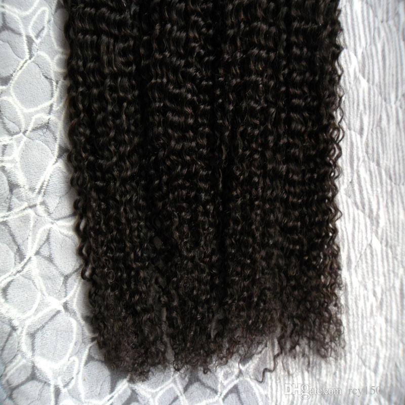 Cheveux bouclés kinky mongole 200g Human Fusion cheveux ongles U Tip 100% Remy Extensions de cheveux humains 200 s afro kinky bouclés kératine bâton pointe