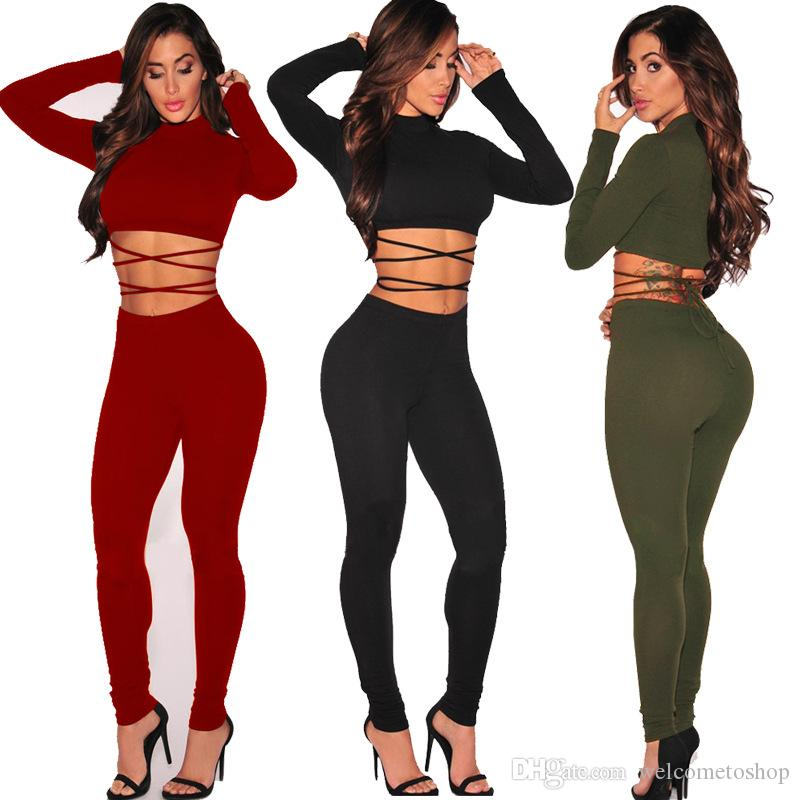 Women S Two Piece Pants Fashion Slim Long Sleeve Crop Tops And Pants Set  Clothing Outfits Woman Sexy Bodycon Bandage Two Piece Suits UK 2019 From ... 24848b031