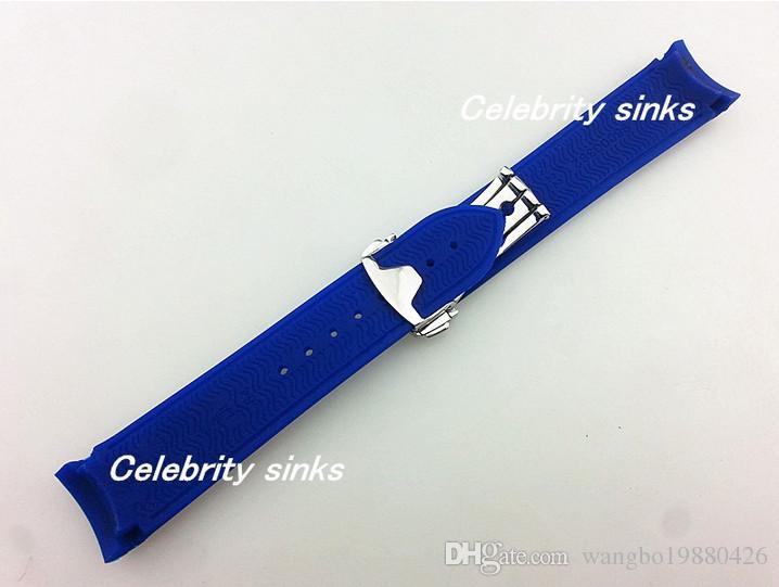 20 mm 18 mm Wölbungs Die neue hochwertige Silikongummiband blau wasserdichte Taucher Silber Schnalle Für Omega Watch