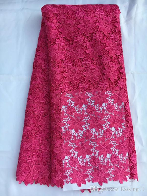 Gorgeous fuchsia cord lace embroidery african guipure lace with flower water soluble lace fabric for party dressing QW18-2