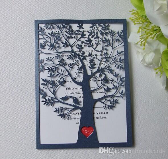 Laser Cut Tree Wedding Invitations: Laser Cut Tree With Love Hearts Luxury Wedding Invitation
