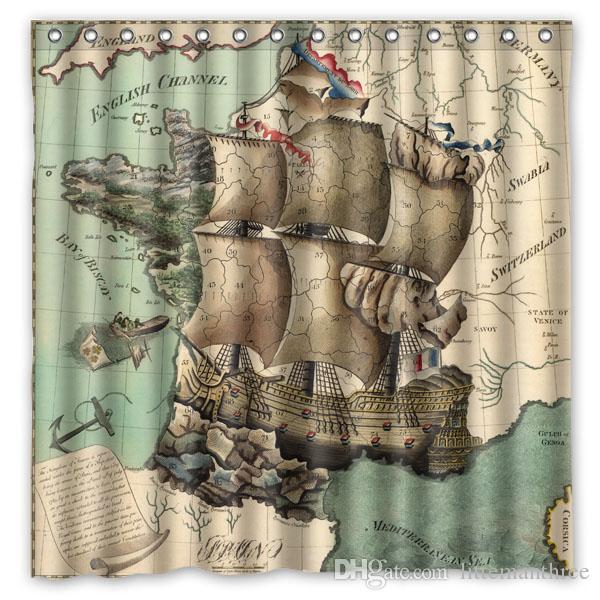 2018 Map Retro Vintage Map Painting Design Shower Curtain Size 180 X