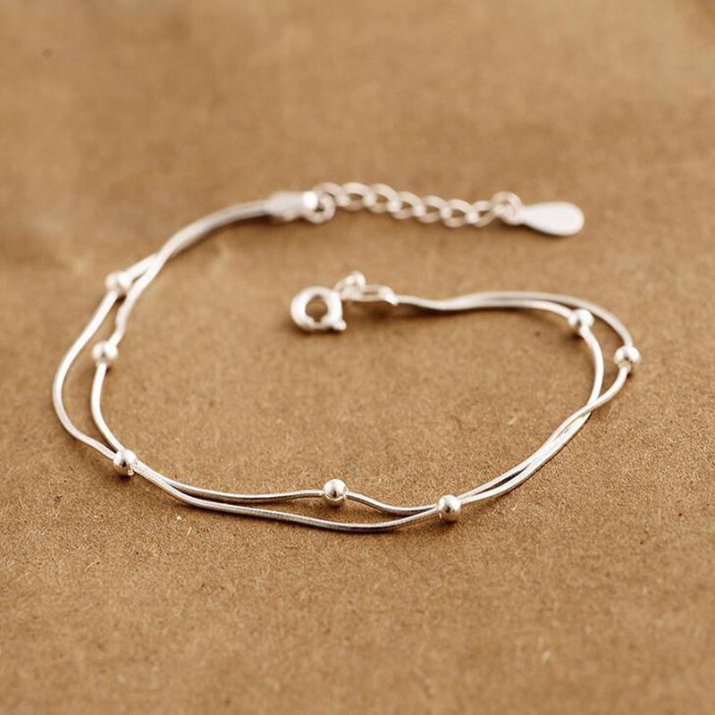adeb9d26550f 925 pulseras de plata esterlina para mujer One Direction Charm Bead pulsera  de cadena de la serpiente joyería de moda
