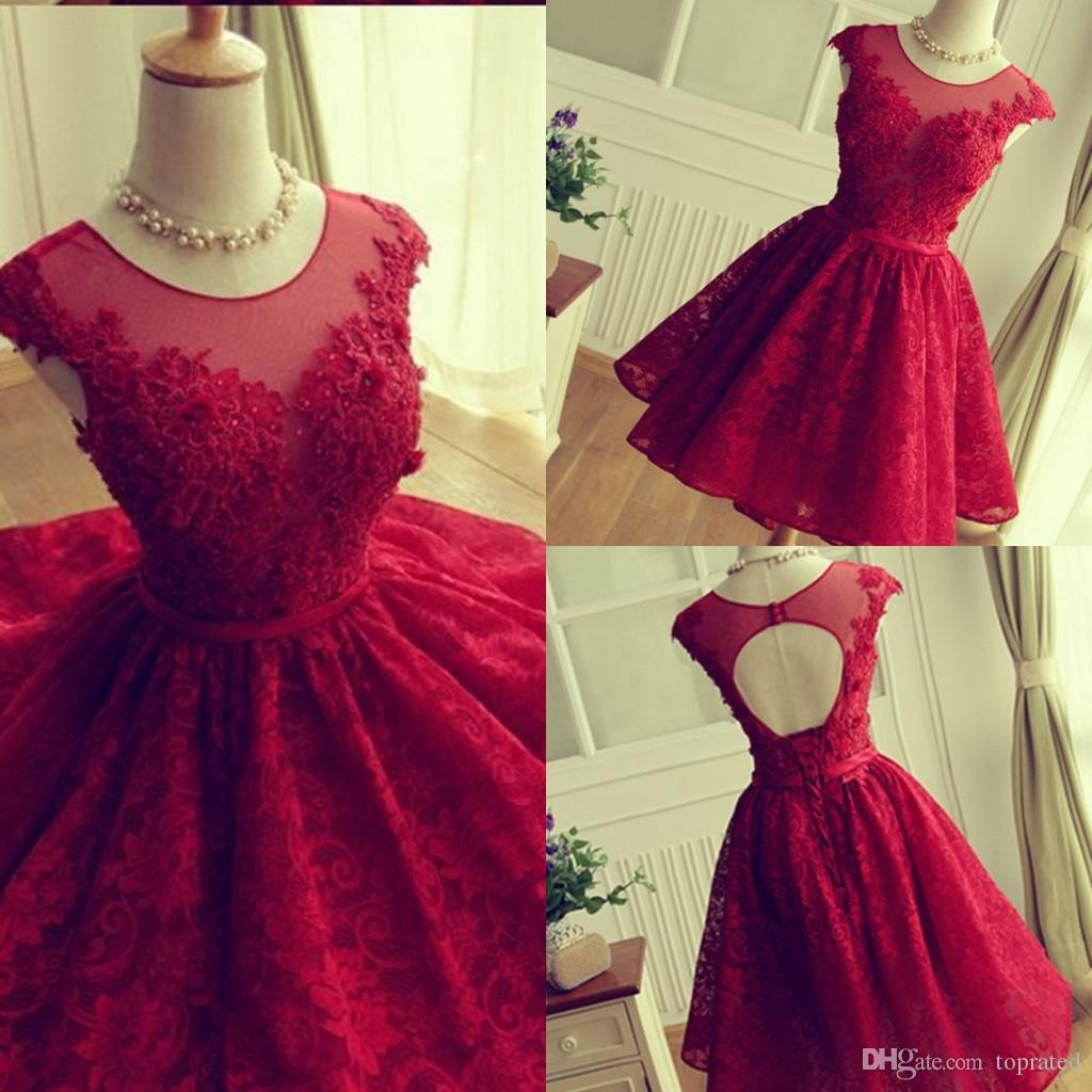 Red Lace Short Party Dresses Sheer Neck Cap Sleeves Tulle Ruffles ...