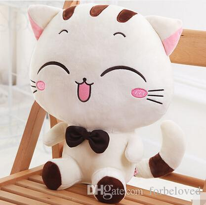 2019 Stuffed Animal Character Cute Happy Cat Plush Toy 20cm White