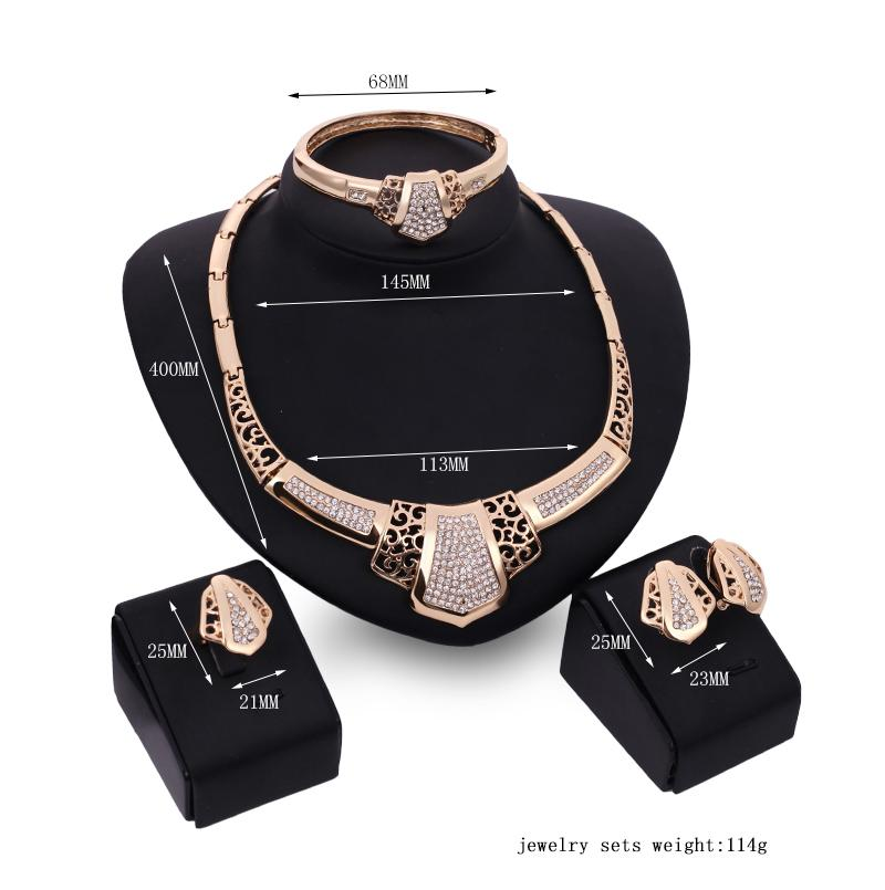 Necklace Earrings Bangle Ring Jewelry Set Royal Fashion Women Quality Rhinestone 18K Gold Plated 4-Piece Set Party Jewelry Wholesale JS185