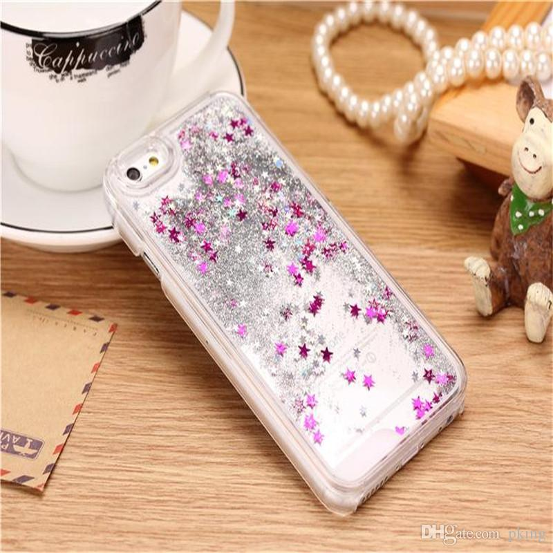 Colorful Moving Shining Stars Liquid Glitter Quicksand TPU Bling Phone Case Cover For iphone5/5S 6/6S 6/6S Plus