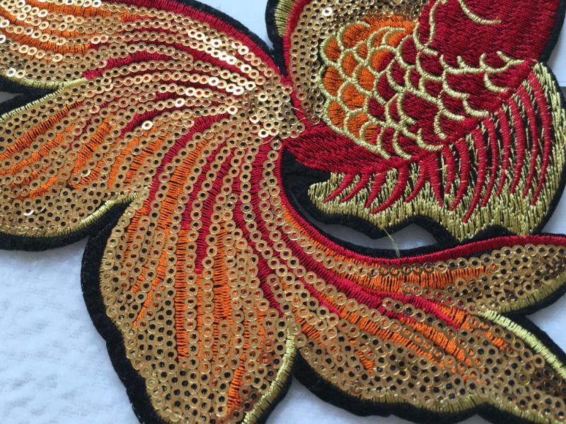 Großhandel 1 Stück Gestickte Flecken Goldfisch Muster Pailletten ...