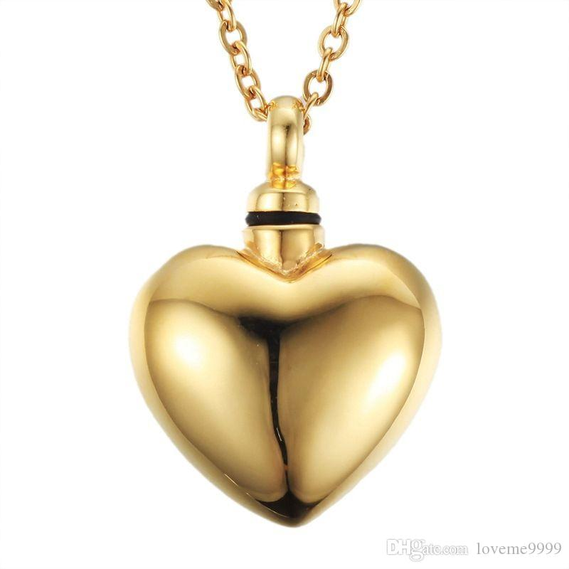 Hot sale High quality 18k gold plated Stainless Steel Love Cremation Memorial Jewelry Ash Urns Heart Lockets Pendant Necklace Urns Jewelry