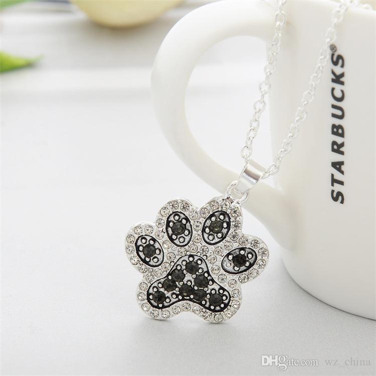 Vintage Kadınlar Takı Kediler Köpekler Paw Kolye Tam CN Elmas Kolye Kolye Evcil Moda Takı Gümüş Kaplama Sıcak satış